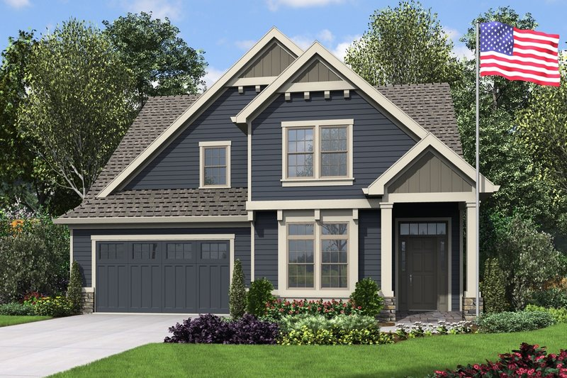 Craftsman Style House Plan - 4 Beds 3.5 Baths 2960 Sq/Ft Plan #48-994 Exterior - Front Elevation