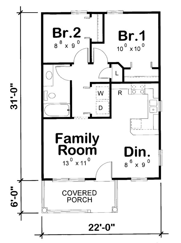 House Plan Design - Cottage Floor Plan - Main Floor Plan #20-2364