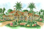 Mediterranean Style House Plan - 5 Beds 5.5 Baths 6649 Sq/Ft Plan #27-215 Exterior - Front Elevation