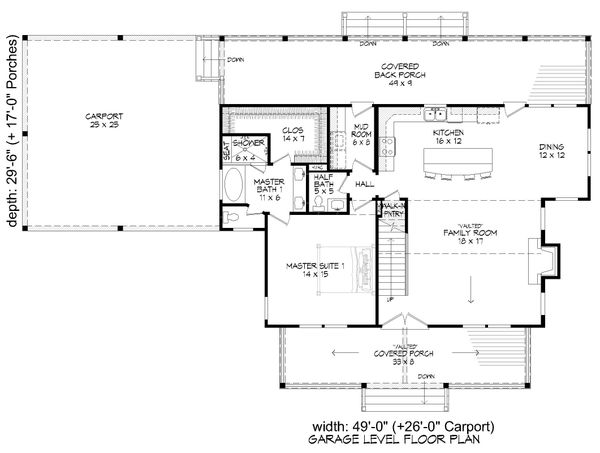 House Blueprint - Country Floor Plan - Main Floor Plan #932-360