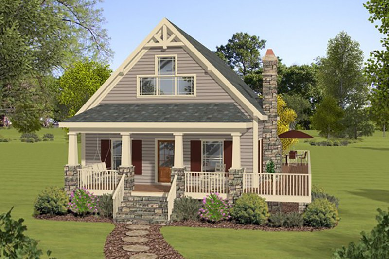 Cottage Style House Plan - 3 Beds 2 Baths 1592 Sq/Ft Plan #56-624 Exterior - Front Elevation