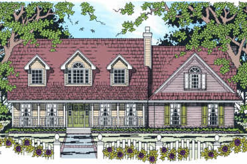 Country Style House Plan - 4 Beds 2.5 Baths 2110 Sq/Ft Plan #42-348 Exterior - Front Elevation