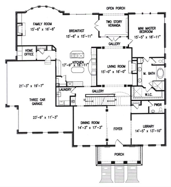 Colonial Floor Plan - Main Floor Plan Plan #54-133