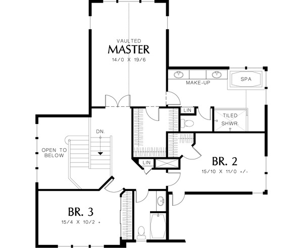 Upper level floor plan - 4000 square foot Craftsman home