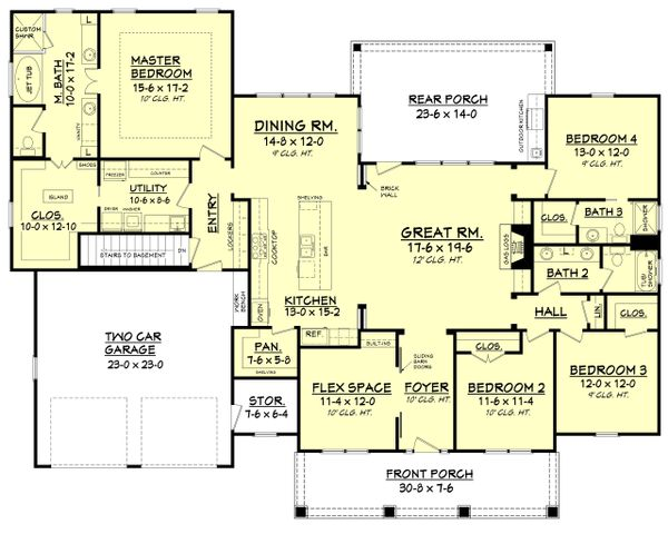 Craftsman Floor Plan - Main Floor Plan Plan #430-104