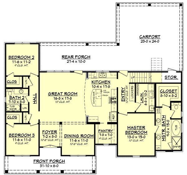 European Floor Plan - Main Floor Plan Plan #430-144