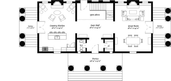 Main Level Floor Plan - 4050 square foot Classical Revival home