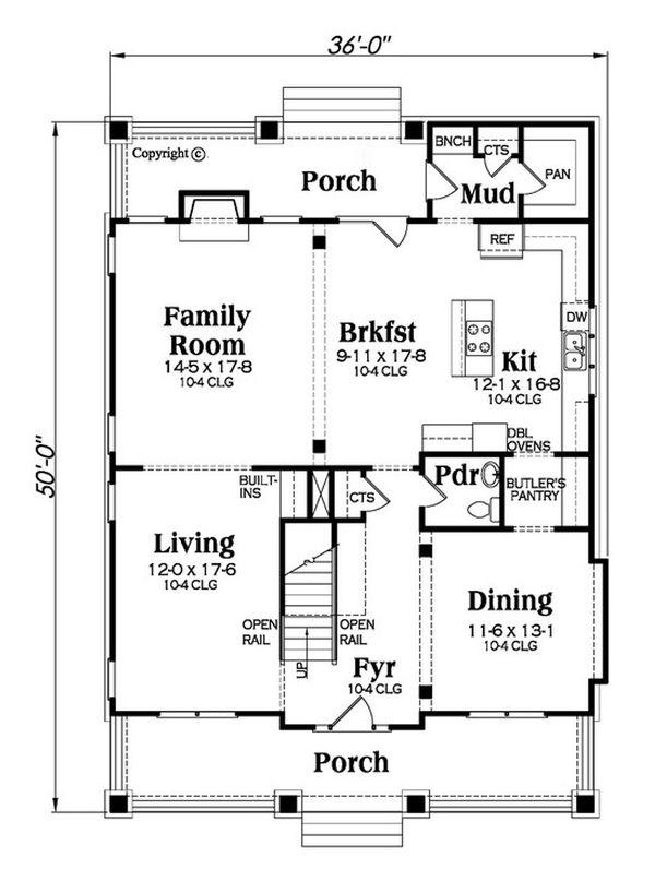 Bungalow Floor Plan - Main Floor Plan Plan #419-291