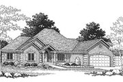European Style House Plan - 4 Beds 3.5 Baths 4480 Sq/Ft Plan #70-451 Exterior - Front Elevation