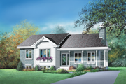 Country Style House Plan - 3 Beds 1 Baths 1321 Sq/Ft Plan #25-1120 Exterior - Front Elevation