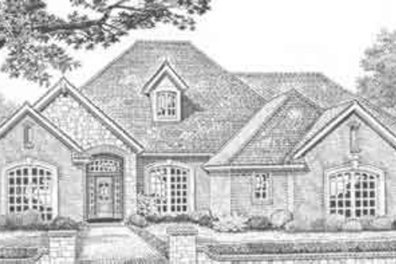 European Style House Plan - 4 Beds 3 Baths 2795 Sq/Ft Plan #310-384 Exterior - Front Elevation