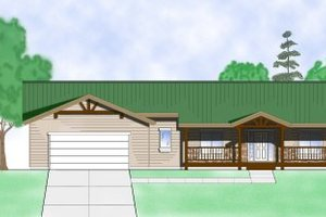 Ranch Exterior - Front Elevation Plan #5-122