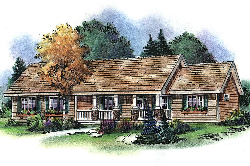 Country Style House Plan - 3 Beds 2.5 Baths 2022 Sq/Ft Plan #18-4506 Exterior - Front Elevation