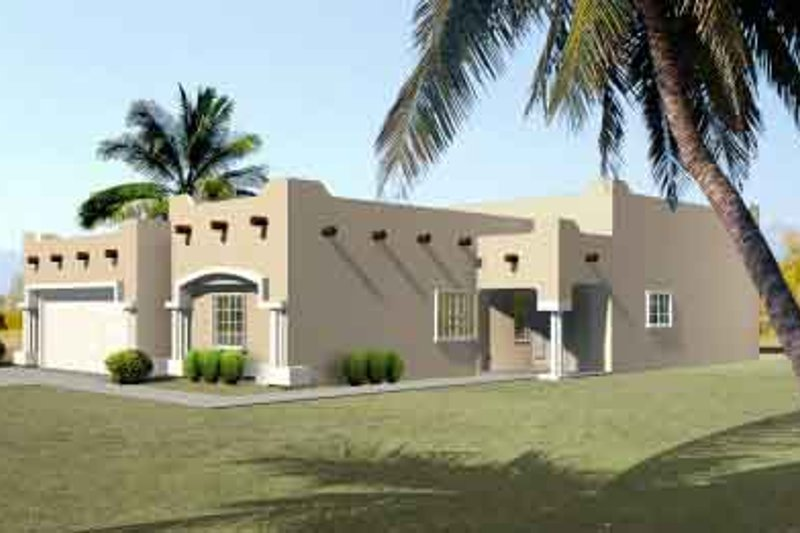 Adobe / Southwestern Style House Plan - 4 Beds 3 Baths 2053 Sq/Ft Plan #1-1410 Exterior - Front Elevation