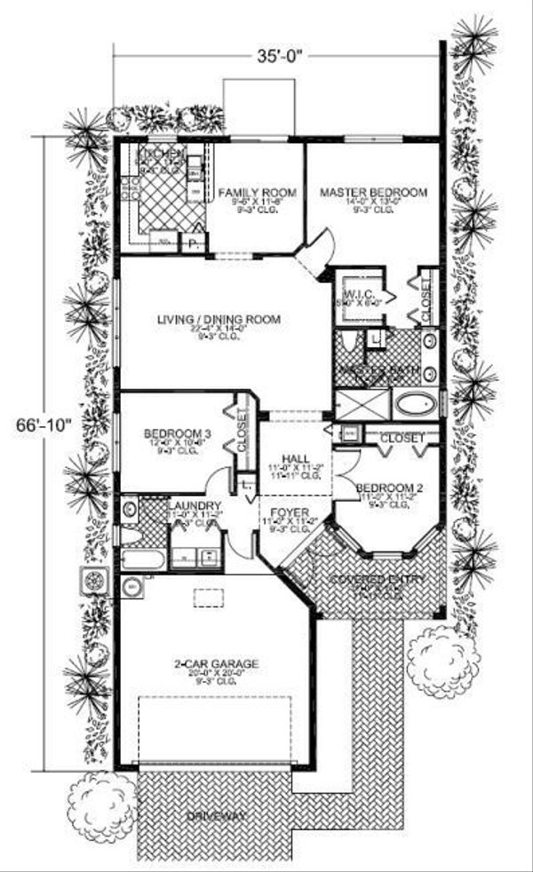 Mediterranean Floor Plan - Main Floor Plan Plan #420-206