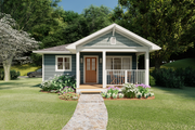Cottage Style House Plan - 1 Beds 1 Baths 624 Sq/Ft Plan #126-178 Exterior - Front Elevation