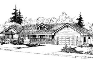 Ranch Exterior - Front Elevation Plan #60-162