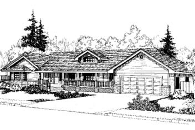 Ranch Exterior - Front Elevation Plan #60-162 - Houseplans.com
