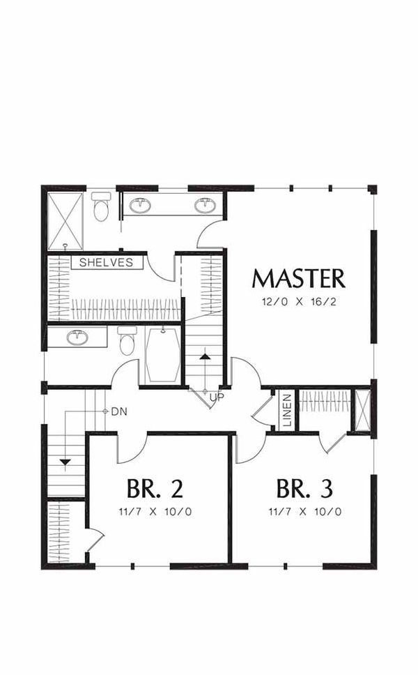 Craftsman Floor Plan - Upper Floor Plan Plan #48-489