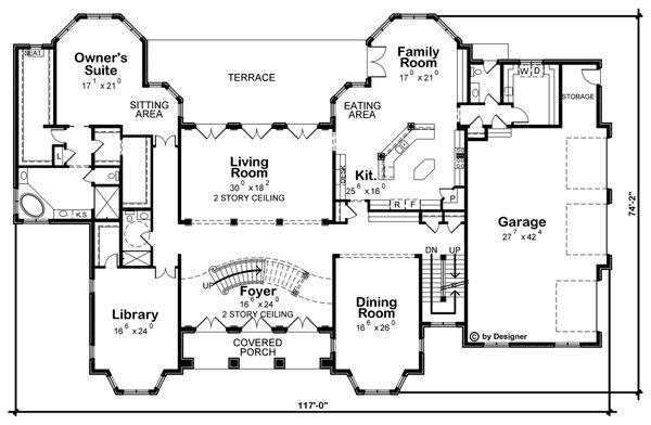 House Plan Design - European Floor Plan - Main Floor Plan #20-2378