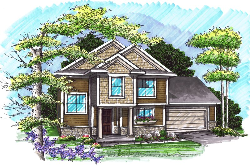 Home Plan - Traditional Exterior - Front Elevation Plan #70-1028