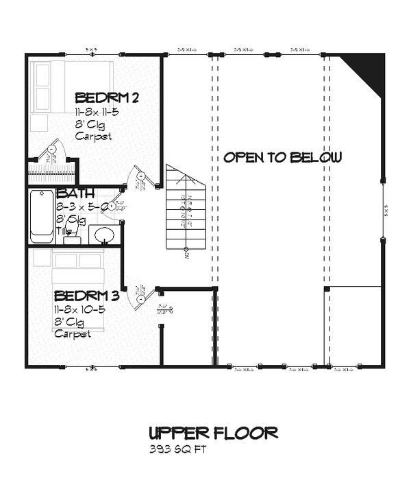 Farmhouse Floor Plan - Upper Floor Plan #901-11