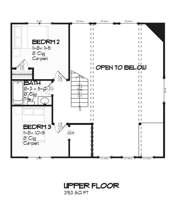 Farmhouse Floor Plan - Upper Floor Plan #901-11