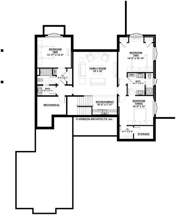 Farmhouse Floor Plan - Lower Floor Plan Plan #928-301