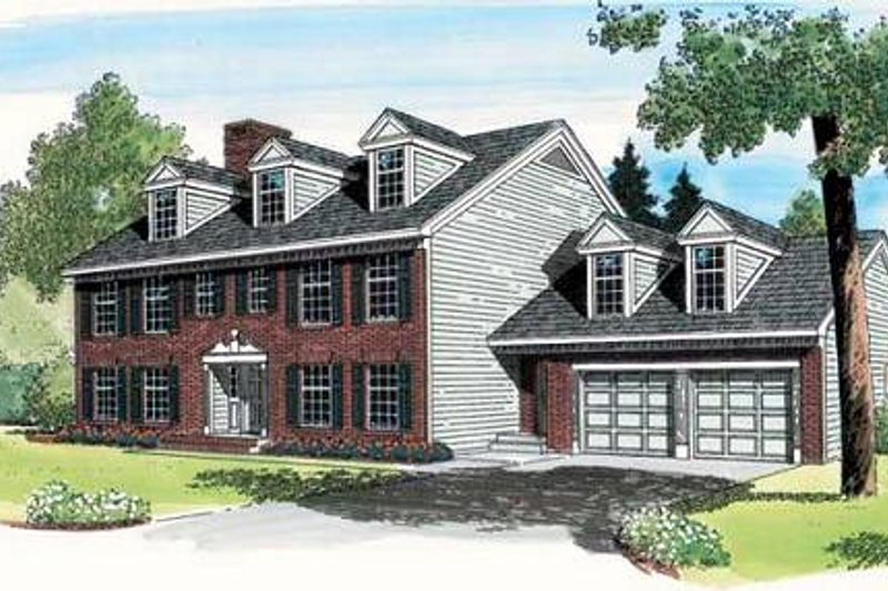 Colonial Style House Plan - 3 Beds 2.5 Baths 3107 Sq/Ft Plan #312-579 Exterior - Front Elevation