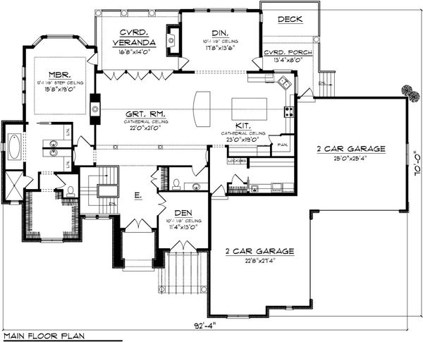 Mediterranean Floor Plan - Main Floor Plan Plan #70-1093
