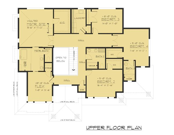 Contemporary Floor Plan - Upper Floor Plan Plan #1066-47