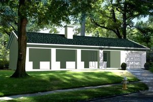 Ranch Exterior - Front Elevation Plan #1-106