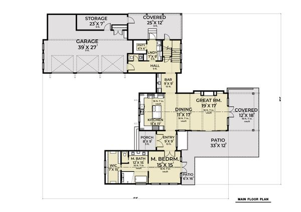 Farmhouse Floor Plan - Main Floor Plan #1070-110