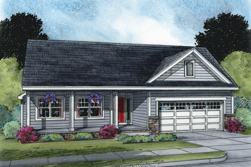 Ranch Exterior - Front Elevation Plan #20-2271