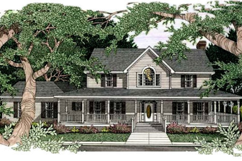 Country Exterior - Front Elevation Plan #406-167 - Houseplans.com