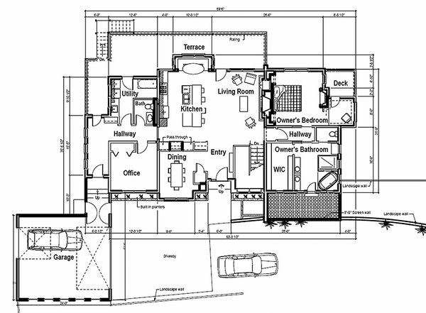 Contemporary style, modern design house plan, main level floor plan