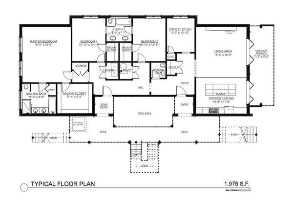 Contemporary Floor Plan - Main Floor Plan Plan #535-24