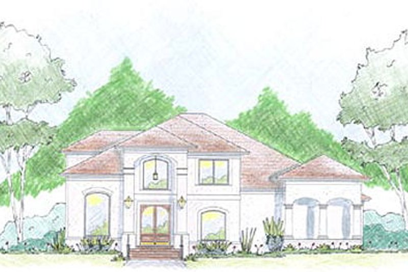 Mediterranean Exterior - Front Elevation Plan #36-469