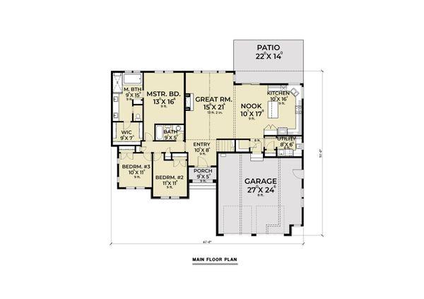 House Plan Design - Craftsman Floor Plan - Main Floor Plan #1070-109