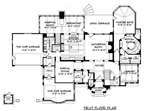 Tudor Floor Plan - Main Floor Plan Plan #413-124