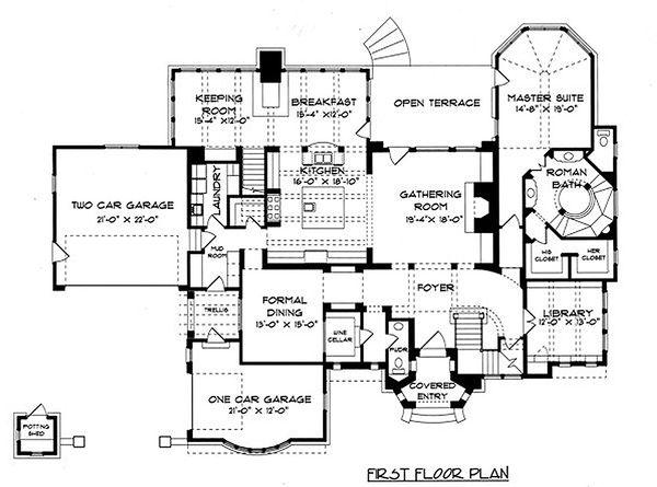 Home Plan - Tudor Floor Plan - Main Floor Plan #413-124