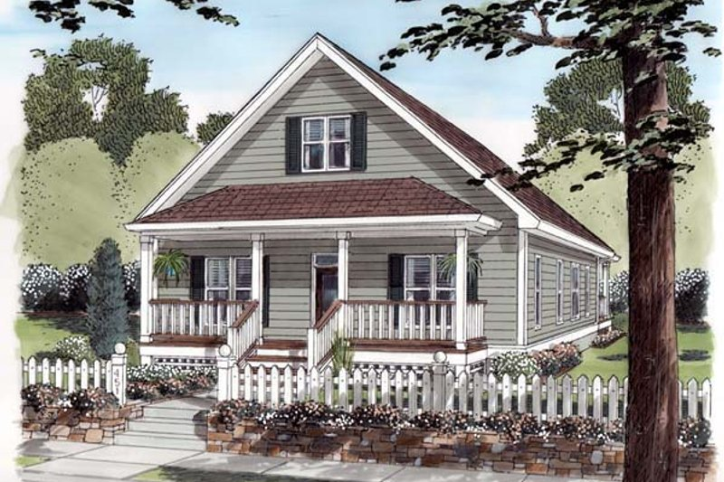Farmhouse Style House Plan - 3 Beds 2 Baths 1428 Sq/Ft Plan #312-715 Exterior - Front Elevation