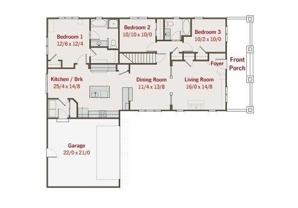 Craftsman Floor Plan - Main Floor Plan #461-13