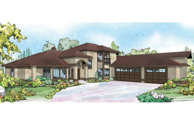 Dream House Plan - Mediterranean Exterior - Front Elevation Plan #124-937