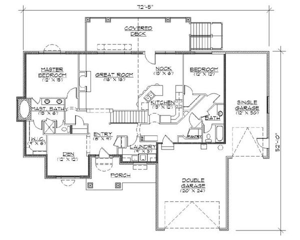 Architectural House Design - Traditional Floor Plan - Main Floor Plan #5-256