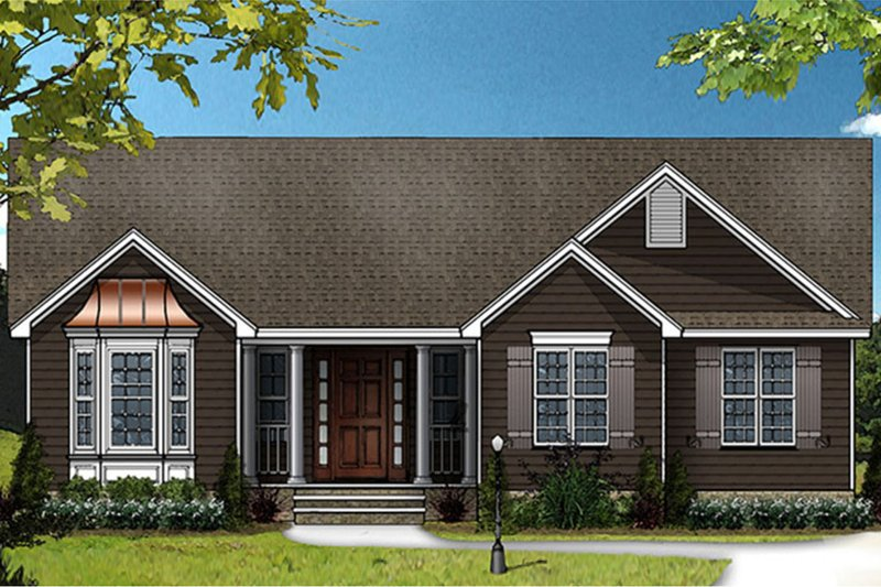 Ranch Exterior - Front Elevation Plan #977-14