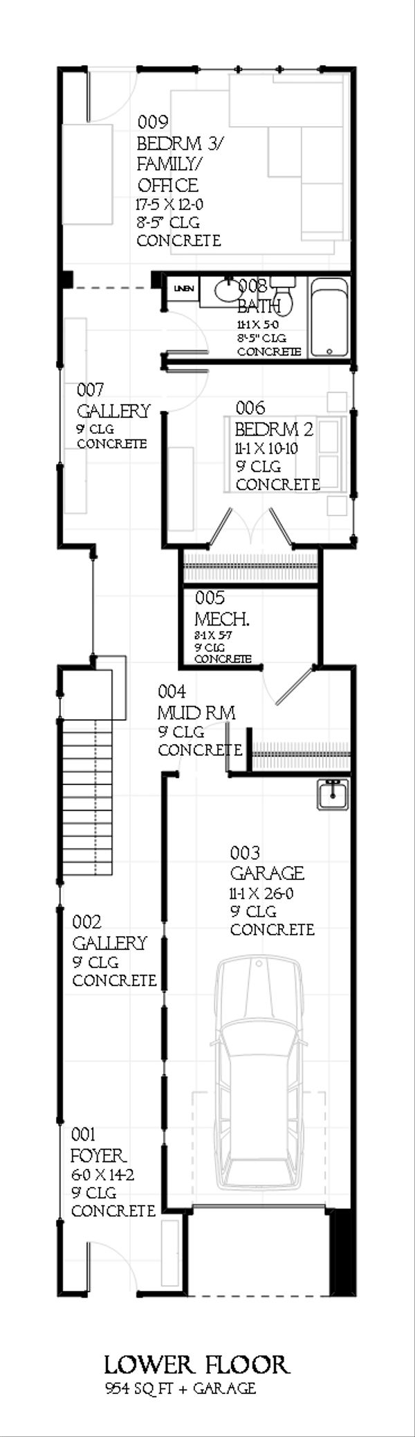 Contemporary house plan, first level floor plan of plan 901-25