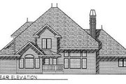 European Style House Plan - 4 Beds 3.5 Baths 3259 Sq/Ft Plan #70-477 Exterior - Rear Elevation