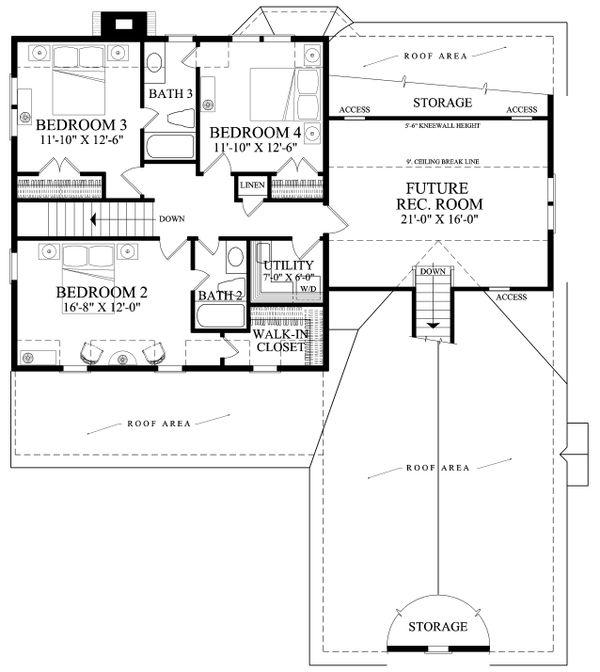 Traditional Floor Plan - Upper Floor Plan Plan #137-290