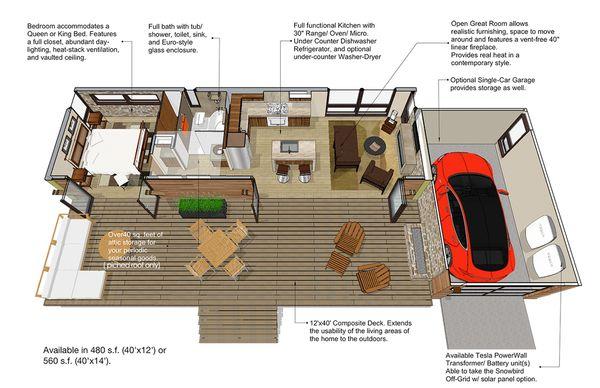 Modern Style House Plan - 1 Beds 1 Baths 480 Sq/Ft Plan #484-4 Floor Plan - Main Floor Plan